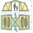 Четырехместная кемпинговая палатка с двумя спальнями и большим тамбуром KSL Macon 4 зеленый