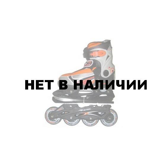 Коньки ледовые/роликовые раздвижные PW-223 (оранжевые)