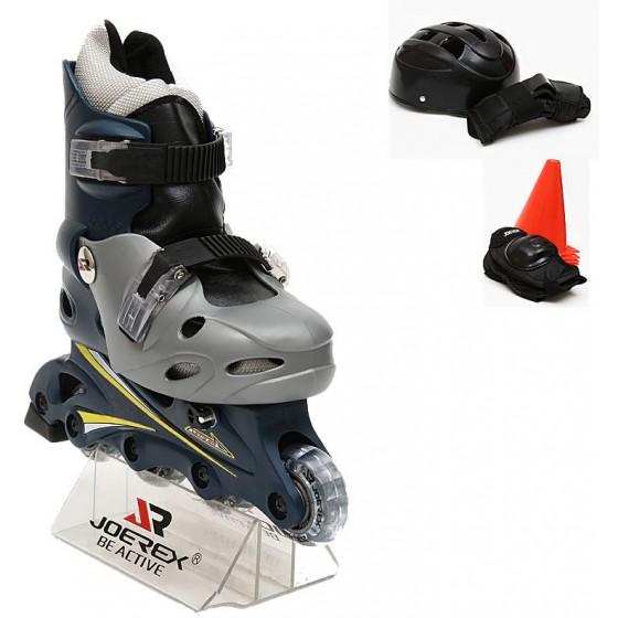 Роликовые коньки JOEREX RO0306 набор (синий/серый)