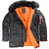 Куртка Slim Fit N-3B Parka black/orange w/black fur Alpha Indust