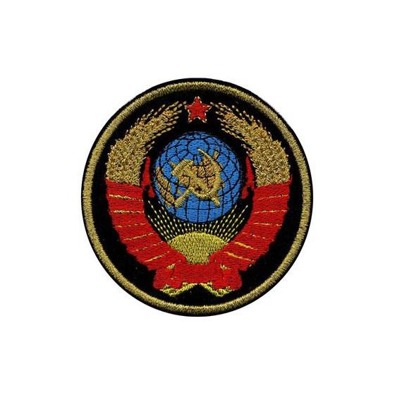 Нашивка на рукав Герб СССР черный фон вышивка люрекс
