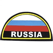 Нашивка на рукав RUSSIA желтый кант малая пластик