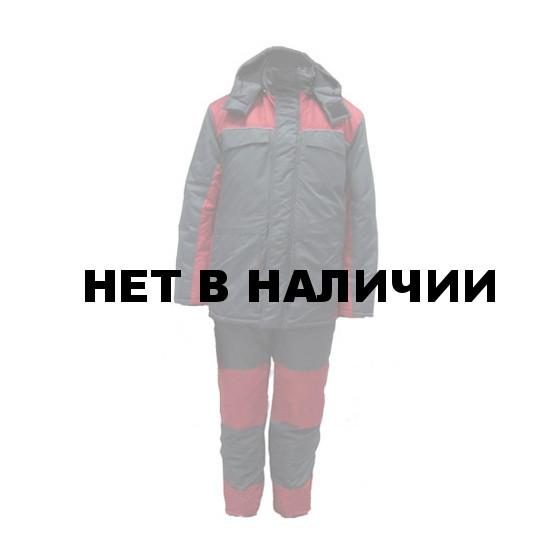 Костюм зимний УРАЛ-Комфорт серый с бордо (твилл/файбертек)