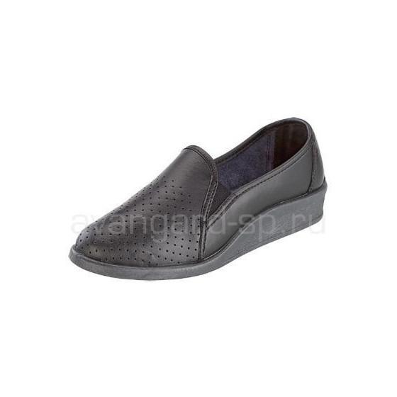 Туфли женские, чёрные, мелкая перфорация, ПВХ