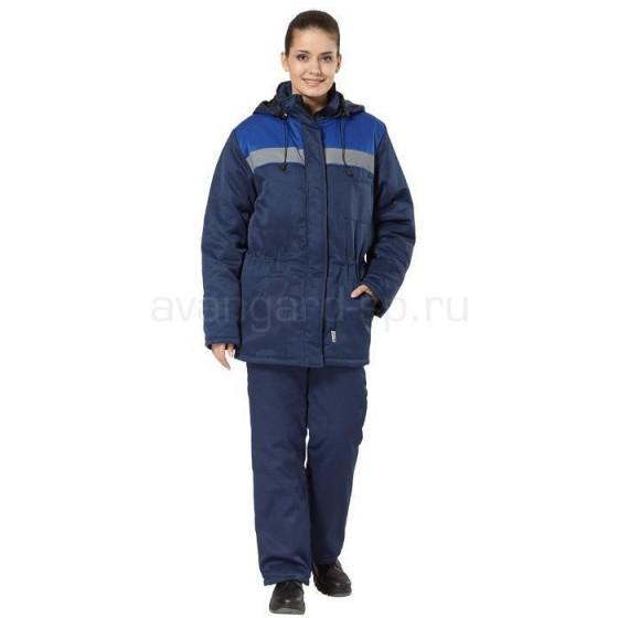 Куртка Бригада женская утепленная (т.син.+вас.)