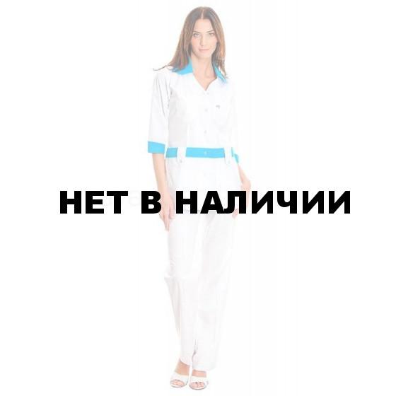 Комплект одежды медицинской женской Каприз(блуза и брюки (цв.бел.+св.голубой))
