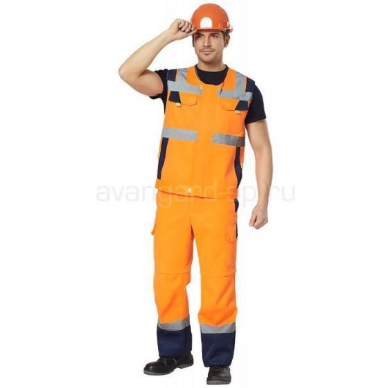 Комплект сигнальный Логистик, ткань смесовая жилет+брюки-шорты (оранжевый+т.син) РАСПРОДАЖА
