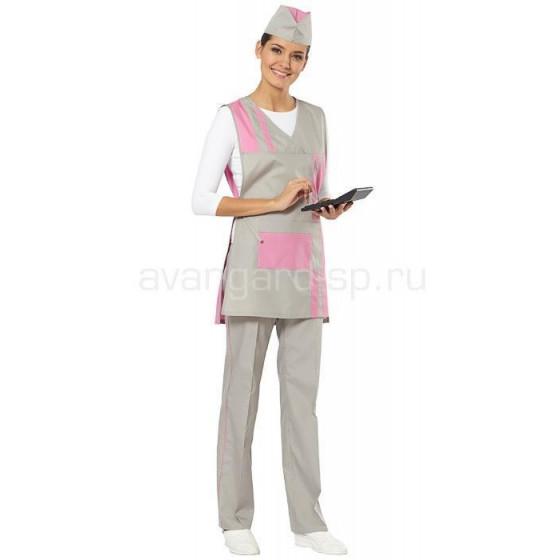Комплект Стиль (фартук-сарафан, брюки, пилотка) цвет серый + розовый
