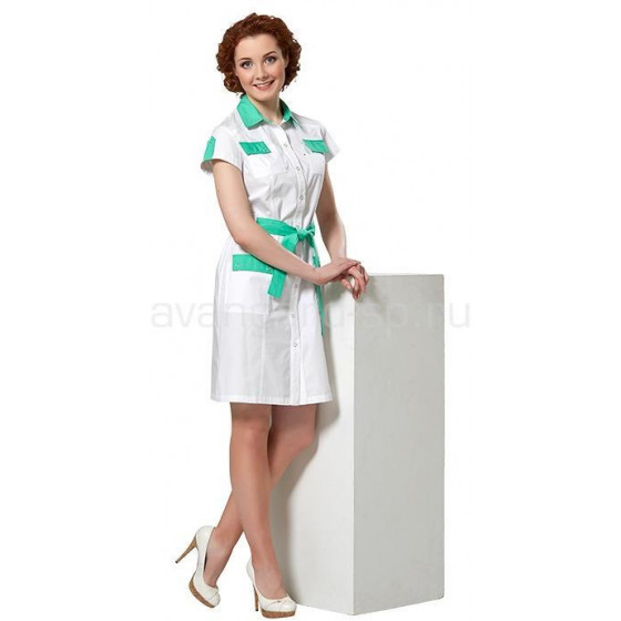Платье женское LL4103 (бел+зел)