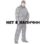 Костюм охранника с мех воротник на синтепоне, камуфляж (серый) утепленный