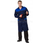 Халат мужской Технолог (ткань смесовая) цвет т. син. +василек+ светоотр. кант