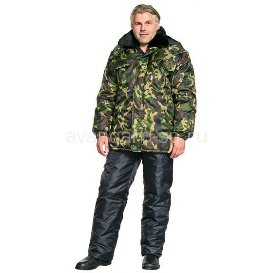 Куртка Полюс, камуфляж зелёная удлиненная, ткань Оксфорд