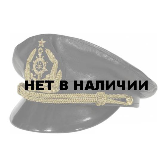 Капитанка кожаная черная с вышитым шевроном