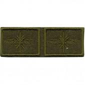 Эмблема петличная Войска связи нового образца полевая вышивка шё