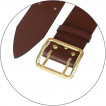 Ремень офицерский кожаный коричневый (кож. подклад)