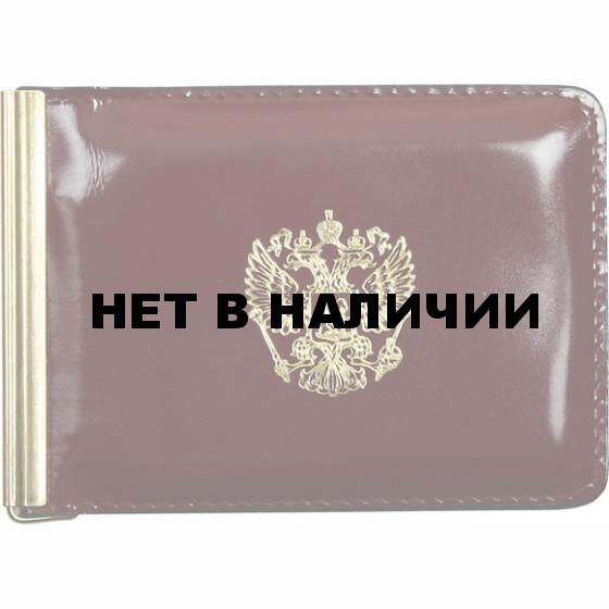 Зажим для денег Герб РФ с магнитом кожа