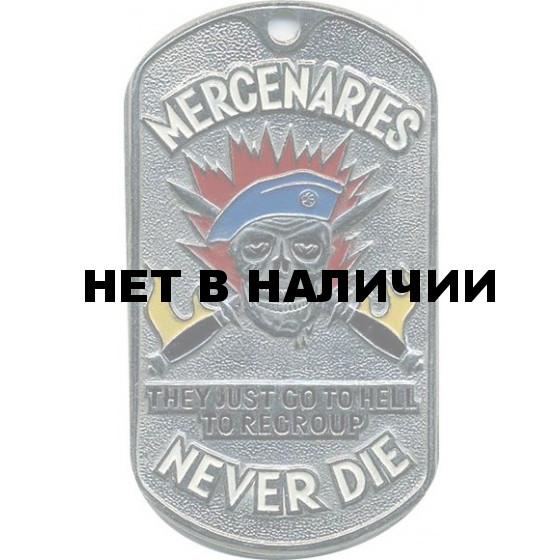 Жетон 2-15 MERCENARIES NEVER DIE голубой берет металл