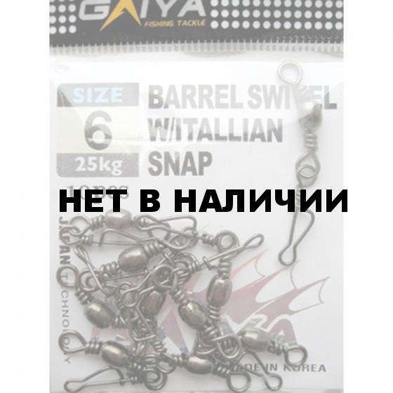 Вертлюг-застежка GAIYA BARREL SWIVEL W/ITALIAN