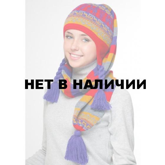 Шапка полушерстяная marhatter женская 4401 красный/фиолетовый