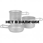 Набор титановой посуды 2 кастрюли, 1 сковородка (1200+800+400 ml)