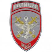 Нашивка на рукав Полиция Подразделения ВД на транспорте МВД России парадная серая вышивка люрекс