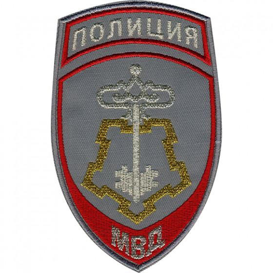 Нашивка на рукав Полиция Вневедомственная охрана МВД России парадная серая вышивка люрекс