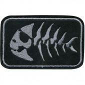 Нашивка на рукав с липучкой Рыба скелет чёрный фон вышивка шёлк