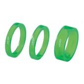 "Проставочные кольца BBB TransSpace 1-1/8"" 2x 5mm 1x 10mm green transparent (BHP-37)"