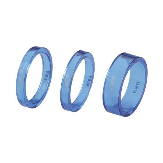 "Проставочные кольца BBB TransSpace 1-1/8"" 2x 5mm 1x 10mm blue transparent (BHP-37)"