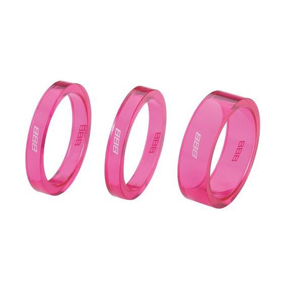 "Проставочные кольца BBB TransSpace 1-1/8"" 2x 5mm 1x 10mm pink transparent (BHP-37)"