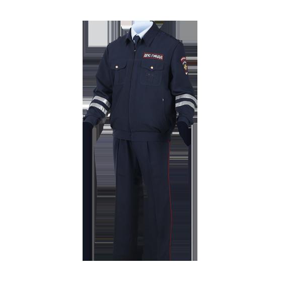 Костюм ДПС летний ГАБАРДИН (куртка+2 брюк) с нашивками Полиция