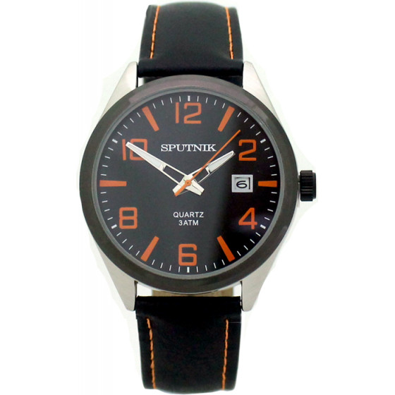 Наручные часы Спутник М-400600/1.3 (черн.,оранж.оф.)