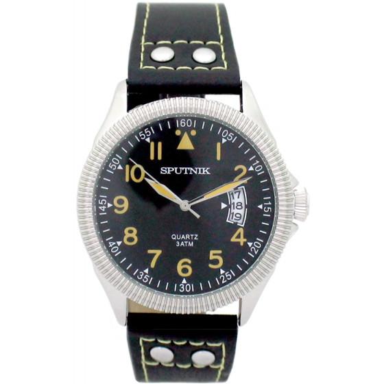 Наручные часы Спутник М-400630/1 (черн.,желт.оф.)