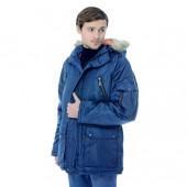 Куртка удлинённая мужская Аляска зимняя. т-синяя