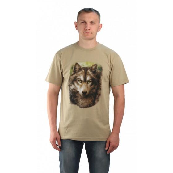 """Футболка """"Волк-2"""" цвет оливковый. Мир футболок"""