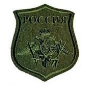 Нашивка на рукав фигурная ВС РФ РВСН полевая оливковая вышивка шелк