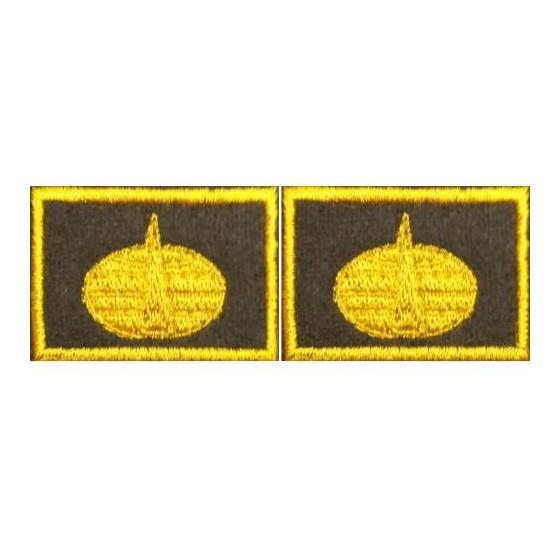 Эмблема петличная Космические войска нового образца повседневная вышивка шёлк