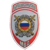 Нашивка на рукав Полиция Подразделения охраны общественного порядка МВД России парадная серая тканая