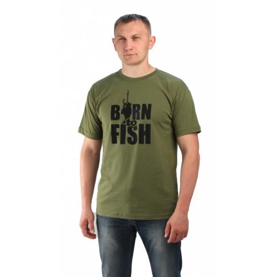 "Футболка цвет хаки. Принт ""Born to fish"""