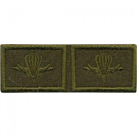 Эмблема петличная с липучкой ВДВ нового образца полевая вышивка шёлк