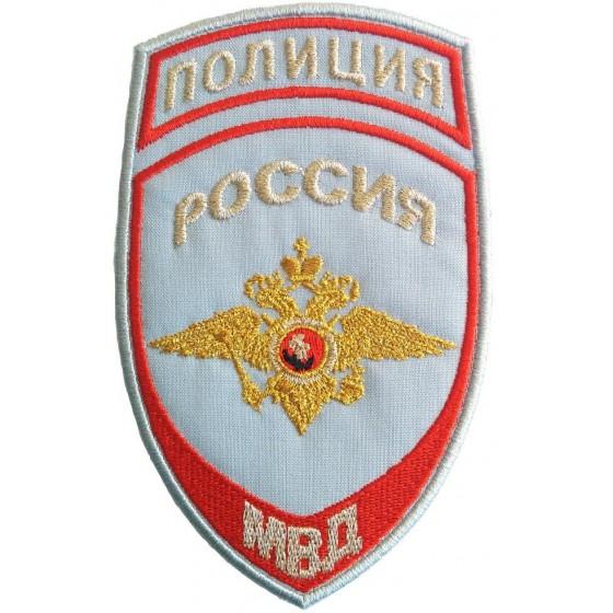 Нашивка на рукав Полиция России МВД на рубашку вышивка люрекс