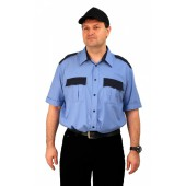 Рубашка мужская Охрана (кор. рукав) голубая с черным