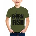 Футболка детская Born to fish цвет хаки