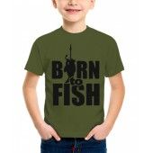 "Футболка детская ""Born to fish"" цвет хаки"
