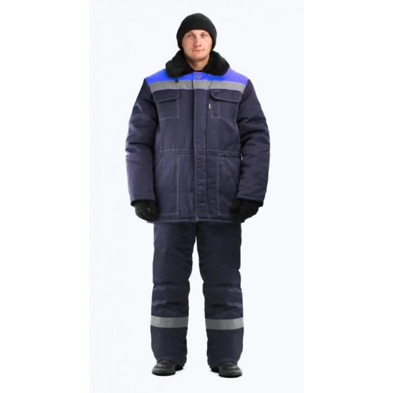 Костюм мужской Строитель СОП 50 мм зимний т-синий с васильковым