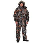 Костюм мужской Вихрь-Люкс зимний, камуфляж алова Рыжий лист подкладка флис 180г
