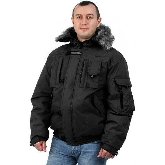 """Куртка мужская на поясе """"Аляска-Премиум"""" черная"""