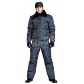 "Куртка мужская на поясе ""Охрана"" зимняя т-синяя"