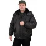 """Куртка мужская на поясе """"Охрана"""" зимняя черная (с капюшоном)"""