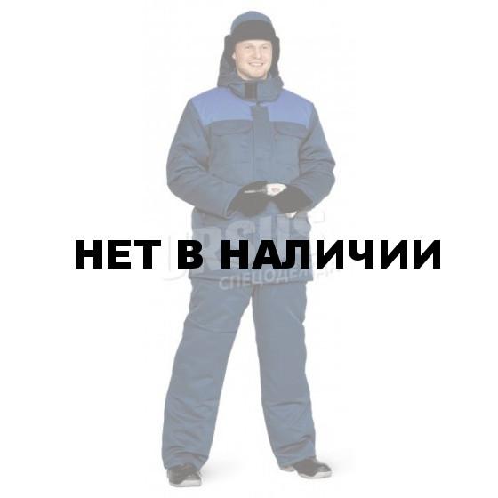 """Костюм мужской """"Буран"""" зимний т-синий с васильковым «Оксфорд» (100% полиэфир),"""